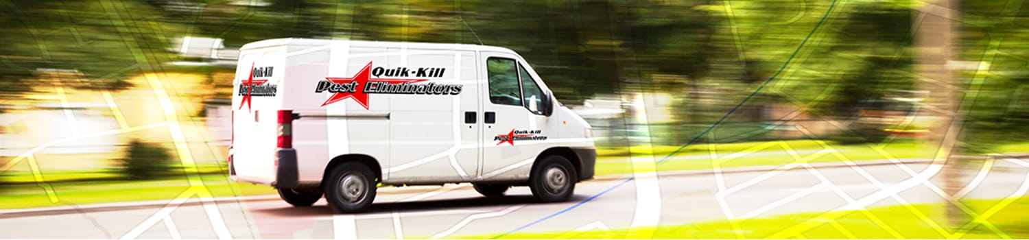 quik kill truck driving to illinois home to perform pest control services